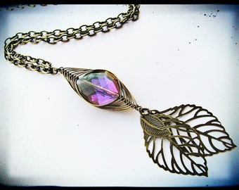 Royal Purple and Antique Brass Herringbone and Leaf Necklace