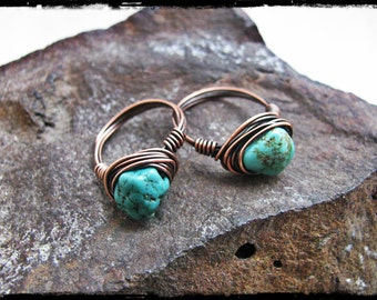 Copper Wire Wrapped Chinese Turquoise Nugget Ring