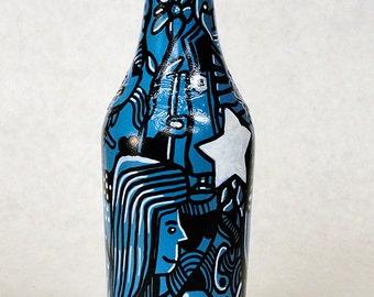 Bottle NO. 89 - Original Mixed Media illustration on Beer Bottle
