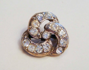 Silver Triquatra Celtic Knot Brooch with Rhinestones Vintage Antique