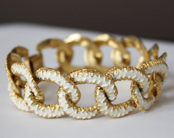 Vintage Gold and White Open Link Bracelet