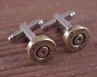 Bullet Cufflinks / 45 Auto Cuff Links / Wedding Cufflinks / Groomsmen Gift / Gifts For Men / Fathers Day Gift /Bullet Cuff Links