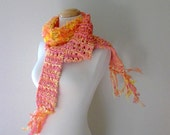 citrus melon sorbet. knitted cotton scarf orange lemon yellow peach apricot coral vegan friendly fall fashion winter accessories
