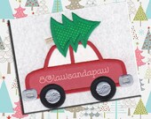 Applique Car With Christmas Tree Embroidery Design 4 Sizes