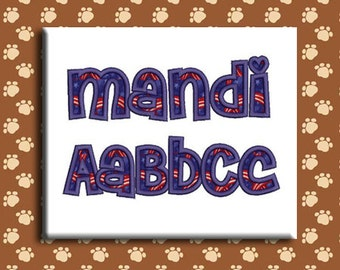 Mandi Applique Embroidery Font includes 4 Sizes