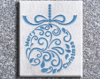 Winter Christmas Ornament 5 with Merry Christmas Embroidery Design
