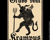 Greetings From Krampus- Liv Rainey-Smith woodcut unisex t-shirt sizes S-4XL