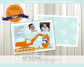 DIGGER...Custom Printable Photo Birthday Invitation...by KM Thomas Designs Item 118