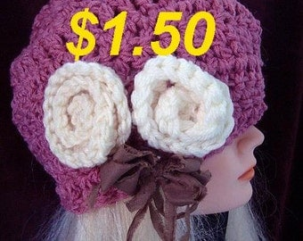 Hat crochet pattern, BERET,  num 574,  Penelope - size  fits age 12 to adult, sell your finished hats, Instant digital download
