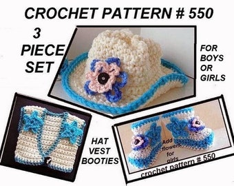 COWBOY - COWGIRL - 3-Piece crochet pattern, baby booties #550HBV,  Hat,Vest patterns,  newborn to  12 months, clothing and accessories