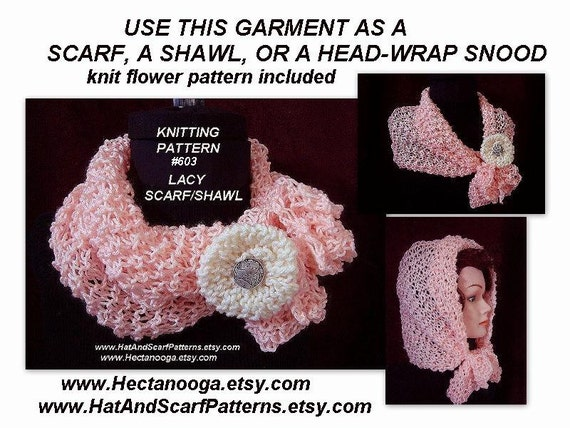 Knitting Pattern For Lace Snood : Knit Scarf - Shawl Knitting Pattern, Instant Download PDF Tutorial Pattern, #...