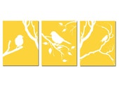 Modern Bird Trio - Set of Three 8x10 Coordinating Birds on a Branch Prints - CHOOSE YOUR COLORS - Shown in Gray, Yellow, Red, and More
