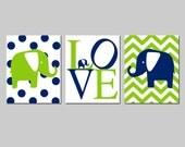 Elephant Nursery Art Trio - Set of Three 11x14 Prints - Polka Dot Elephant, Love, Chevron Elephant - CHOOSE YOUR COLORS - Navy Blue Green