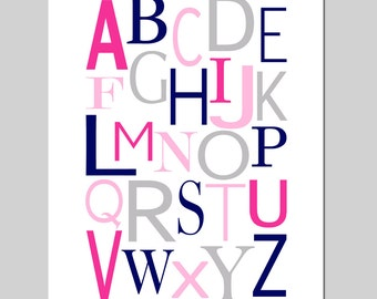 Girl Nursery Decor Modern Alphabet Nursery Art - 8x10 Print - CHOOSE YOUR COLORS - Shown in Pale Gray, Hot Pink, Navy Blue, and More