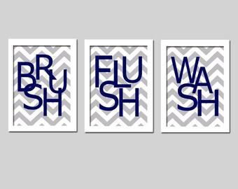 Kids Bathroom Wall Art Print Set - Set of Three 5x7 Chevron Prints - Wash, Brush, Soak, Splish, Splash, Flush, Scrub - CHOOSE YOUR COLORS