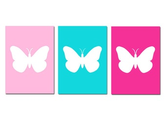 Butterfly Nursery Art - Set of Three 5x7 Prints - Choose Your Colors - Shown in Hot Pink, Light PInk, Aqua, and More