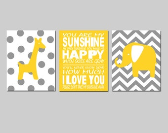Modern Nursery Art - You Are My Sunshine, Chevron Elephant, Polka Dot Giraffe - Set of Three 11x14 Prints - CHOOSE YOUR COLORS - Yellow Gray