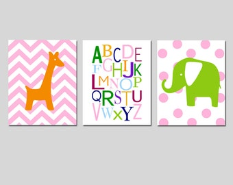 Alphabet Nursery Art Trio - Set of Three 11x14 Prints - Chevron Giraffe - Polka Dot Elephant - Zoo - Kids Wall Art - CHOOSE YOUR COLORS