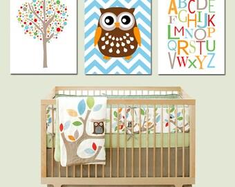 Tree Top Trio - Set of Three 11x14 Nursery Prints - Tree Dot, Chevron Owl, Modern Alphabet - Kids Wall Art - CHOOSE YOUR COLORS - Skip Hop