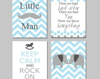 Baby Boy Nursery Art - Little Man Mustache, First We Had Each Other, Keep Calm Rock On, Chevron Elephants - Set of Four 8x10 Prints