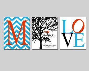 Family Love Trio - Set of Three 8x10 Prints - Chevron Monogram Initial, Family Established Birds in Tree, LOVE - Great Wedding Gift