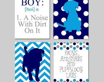 Kids Wall Art - Boy - A Noise With Dirt On It - Set of Four 8x10 Prints - Chevron Polka Dot Puppy Dogs, Frog, Snails - CHOOSE YOUR COLORS