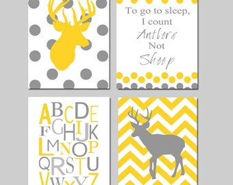 Baby Boy Nursery Art - Polka Dot Chevron Deer - To Go To Sleep I Count Antlers Not Sheep Quote - Alphabet - Set of Four 8x10 Prints