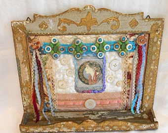 GYPSY DIVA Fabric COLLAGE Rustic Wood Frame Trinket Tray, Art Nouveau Silk Image Lace Trims Teal Ribbon Mop Buttons Whimsical Lady Gift