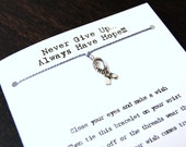 Never Give Up Always Have Hope - Hope Ribbon Charm - Wish Bracelet - Shown In GRAY - Over 100 Different Colors Are Also Available