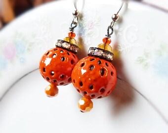 Tangerine orange poppy torch fired glass enamel earrings