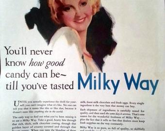 1931 Milky Way Candy Bar Ad Mars Inc Chicago Pretty Girl