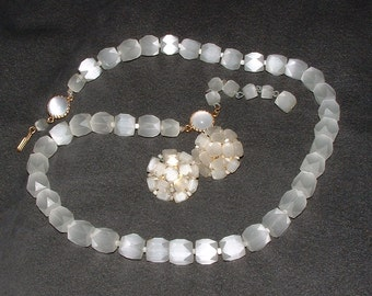 Vintage Faceted Satin Glass Necklace and Earrings Demi Parure