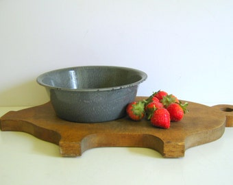 Vintage Gray Graniteware Pudding Pan Primitive