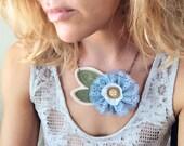Flower Necklace - vintage blue lace and felt flower - statement piece - By Corrieberry Pie