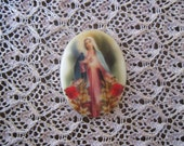 Inspirational Religious Cabochon Immaculate Heart of Mary Religious Cameo Immaculate Heart of Mary Cabochon Unset 40X30mm
