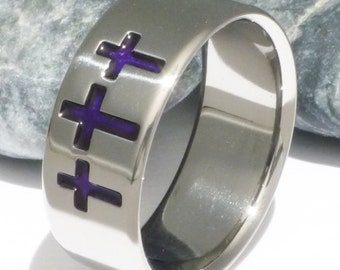 Titanium Christian Ring - Holy Trinity Band - Three Crosses - Purple Ring - cr5 purple