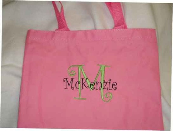 Personalized tote bag!  Flower girl, birthday gift, holiday gift MANY colors.  Name/monogram added free