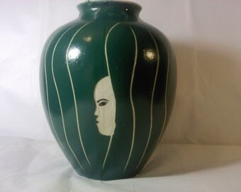 FREE SHIPPING rare art vase mysterious vintage (Vault 1)