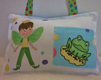 Tooth Fairy Pillow - Boy Fairy with brown hair - Hand Painted -  Personalized FREE