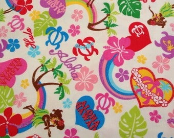 Kawaii Anime Hawaiian Fabric in Aloha Honu, Japanese Canvas in Cream, 1/2 yard