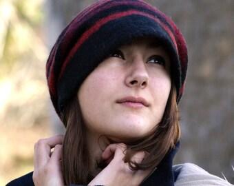 Handmade felt hats merino wool slouchy beanie  Nunofelt hat wool felt hat french beanie womens hat