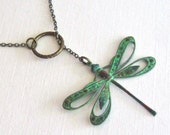 Cutout Dragonfly Lariat Necklace - Patina