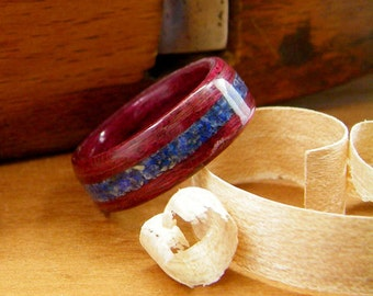 Bentwood Ring Purpleheart with Lapis Inlay