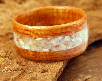 Bentwood Ring Brazilian Cherry Wood with Crushed Mother of Pearl Inlay
