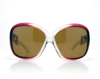 Vintage 70s Oversize Marsala Fade Sunglasses NOS France Ladies Fashion Sunglasses Ready to wear