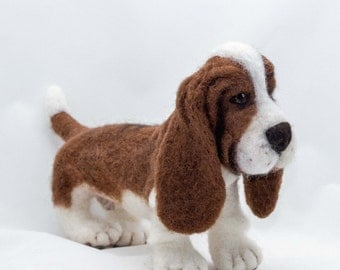 Needle Felted Dog Basset Hound Custom Wool Sculpture