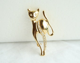 Kitty Cat Brooch Vintage Signed Giovanni Pin Rhinestones Uptown Kitty Figural Pin