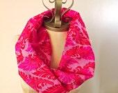 Silk Cowl, Loop Scarves, Infinity Scarf, Bright Pink Fuchsia Thai Silk