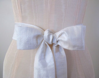 White Wedding Sash Dupioni Silk Many Colors Available by ccdoodle on etsy
