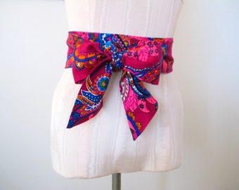 Obi Belt Purple Paisley Print Vintage Fabric - made to order - last one